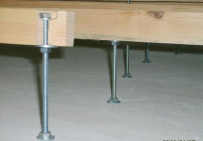 установка лаг на шпильки